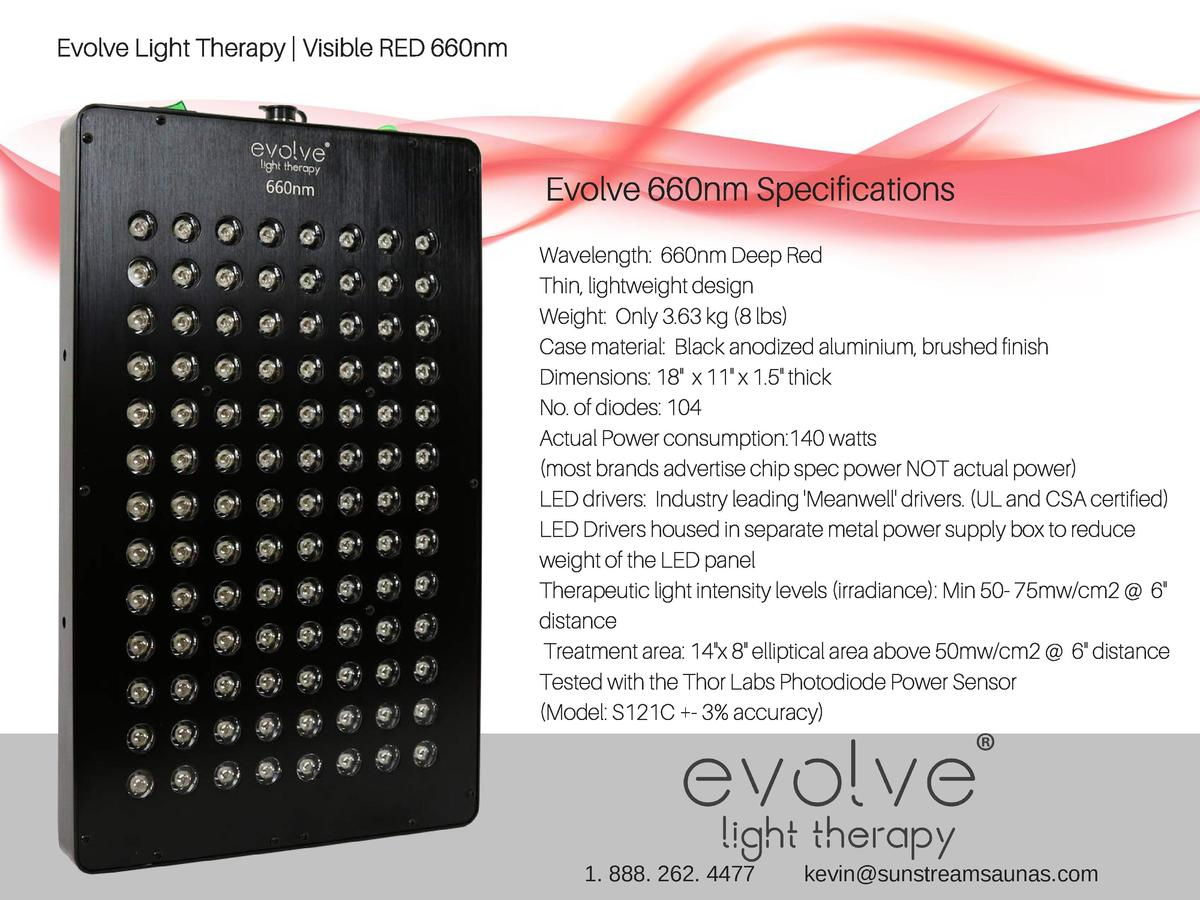Evolve Light Therapy   Visible RED 660nm  Evolve 660nm Specifications Wavelength  660nm Deep Red Thin, lightweight design ...